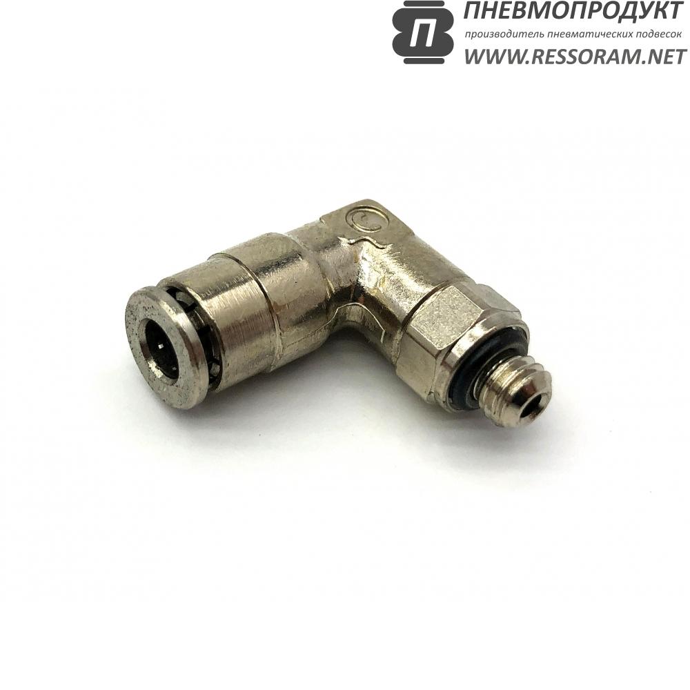 Фитинг угловой поворотный цанговый под трубку 4 мм с наружной резьбой М5